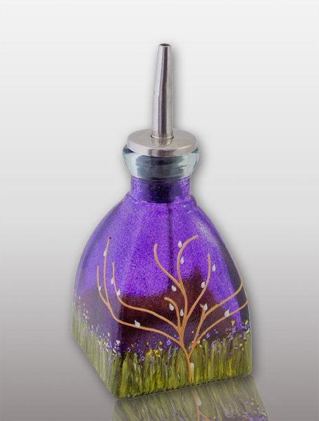 small oil or vinegar cruet glass painted blueberry purple with tree