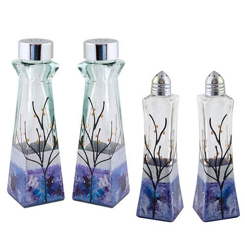 Salt & Pepper Shakers -  Modern Silver Blue Purple