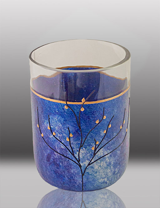 glass painted majestic blue drinking glass with tree
