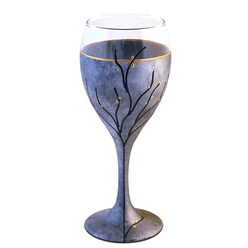 Modern Kiddush Cup or Wine Glass 8.5 Ounce Silver Black Tones