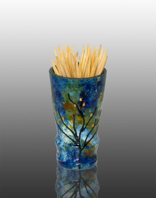 blue green white glass painted toothpick holder with tree