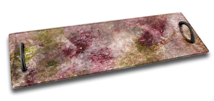 Long Serving Tray - Romantic Palet of Rose and Green Tones