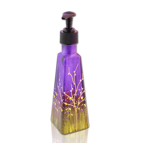 Soap Dispenser, 6 Ounce w/ Black Pump, Blueberry Purple Tree of Life Garden