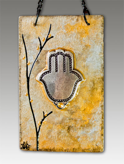 hamsa blessing glass painted royal gold