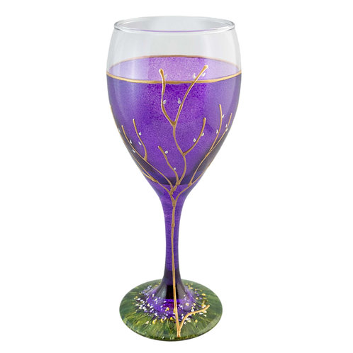 Kiddush Cup or Wine Glass 8.5 Ounce - Blueberry Purple