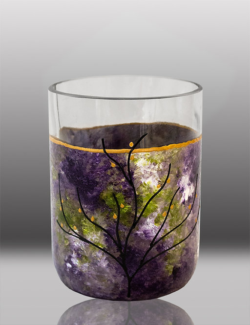 glass painted lavender drinking glass with tree