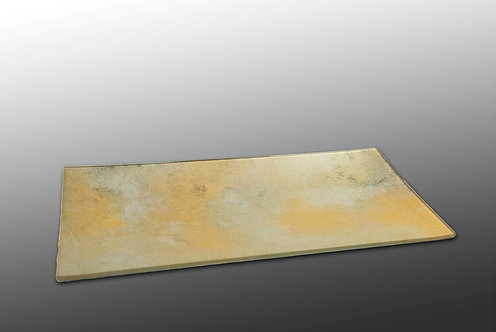 gold and silver glass painted rectangular platter