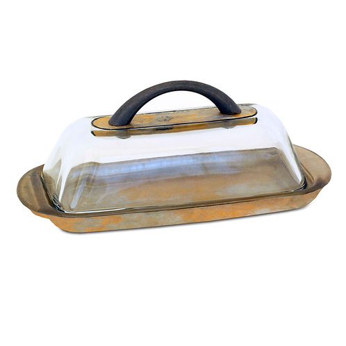 Butter Dish With Lid & Handle - Shades of Gold & Silver and Black