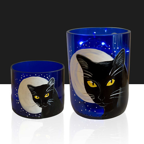Black Cat Tree Moon Recycled Container