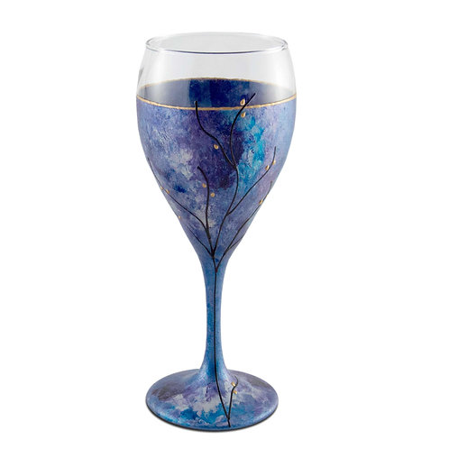 Kiddush Cup or Wine Glass 8.5 Ounce Purple Blue and Silver Tones