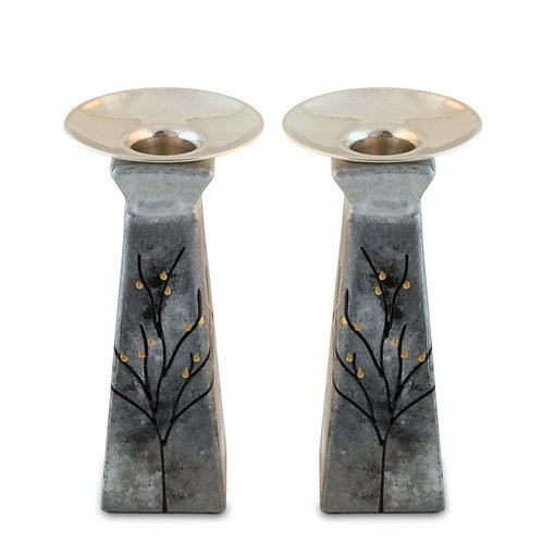 Modern Silver Candle Holders Set