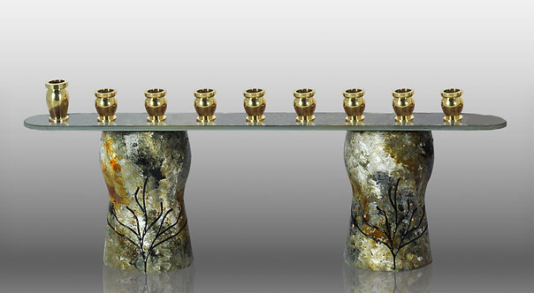 Glass Menorah Inspired by the Forest In Amber Black Green Tone