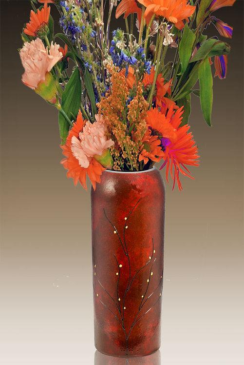 red velvet flower vase