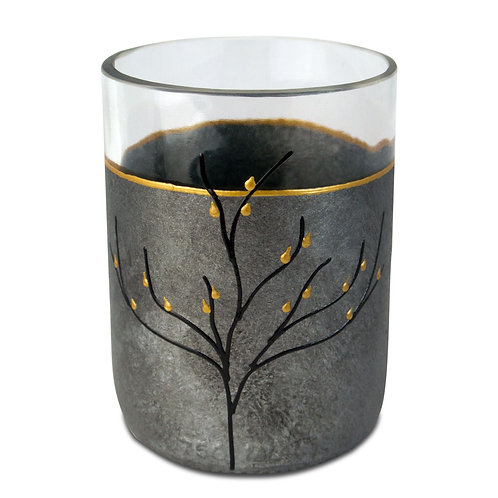 Modern Recycled Glass Drinking Cup (Set of Two) Black Silver Gray Tones