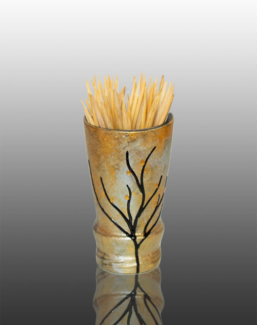 silver and gold glass painted toothpick holder with tree