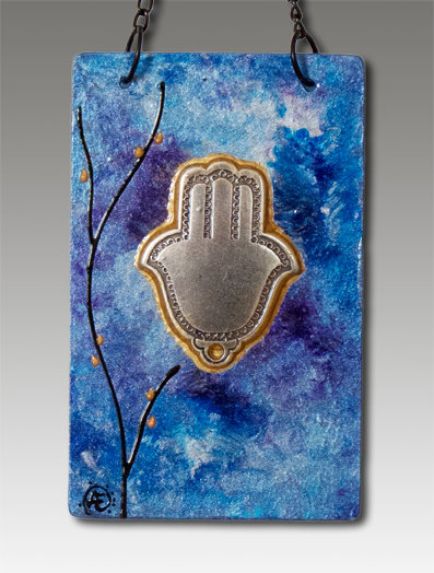 Hamsa blessing glass painted majestic blue
