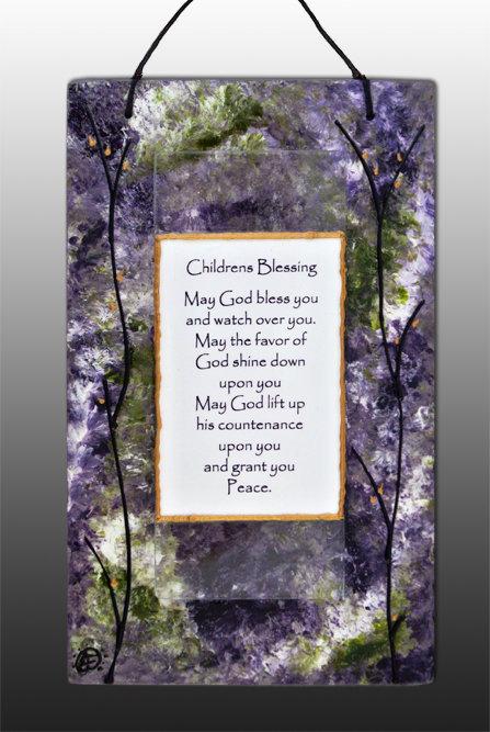 glass painted lavender children's blessing