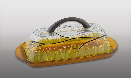 honey amber butter dish