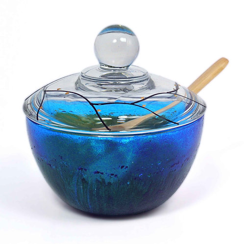 Bowl With Lid & Spoon - Grass & Flowers in Sapphire Sky