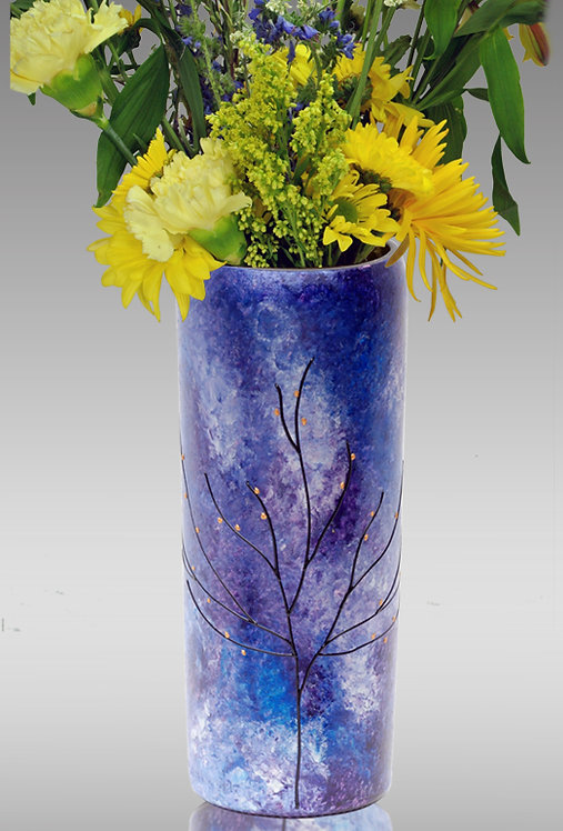 majestic blue and silver flower vase
