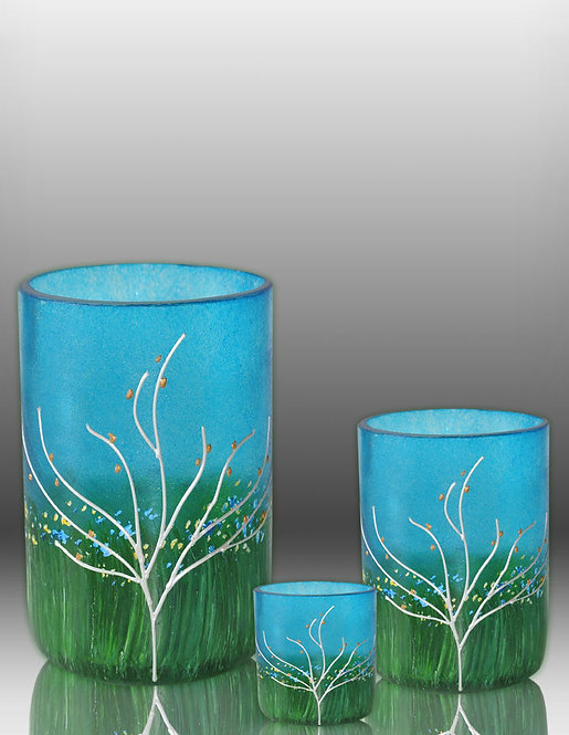 sapphire blue recycled glass container