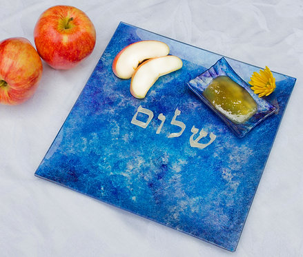 Square Plate with Shalom - Majestic