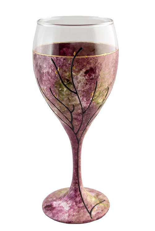 Kiddush Cup or Wine Glass 8.5 Ounce Pink Rose and Green Tone