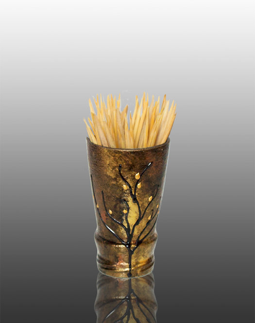 copper and gold glass painted toothpick holder with tree