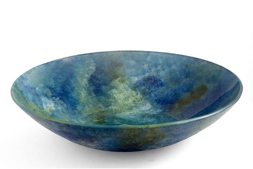 Pasta, Salad Serving Bowl 10 inch round Blue Green Tones