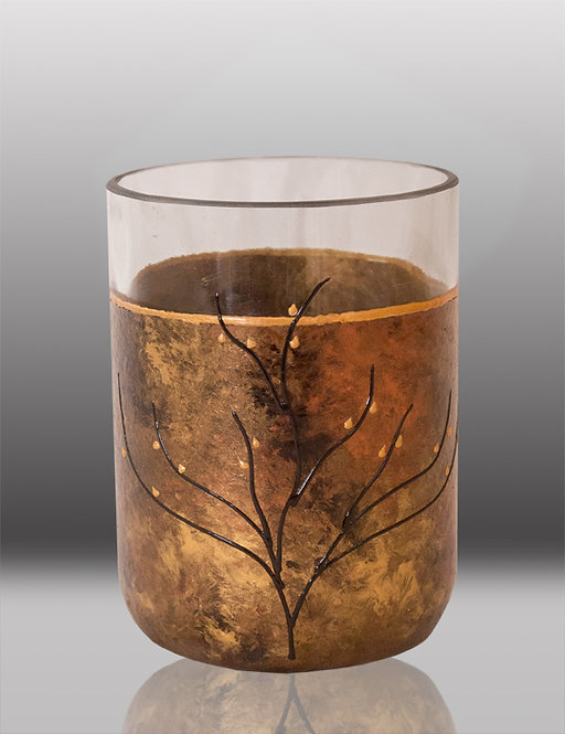 glass painted celebration drinking glass with tree