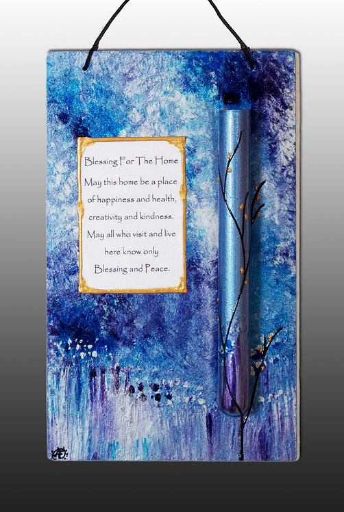 keepsake home blessing in majestic blue and silver