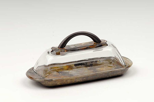 Amber Black Glass Butter Dish With Lid