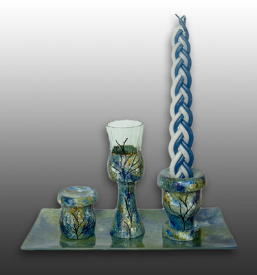 blue green and white glass painted Havdalah set