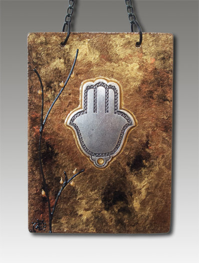 Hamsa blessing glass painted celebration copper