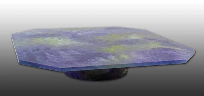 purple green and white glass painted lazy susan tray platter