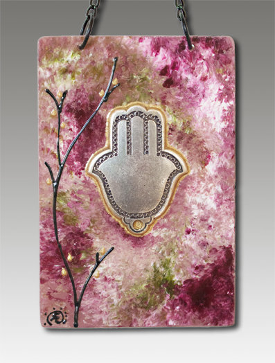 hamsa blessing glass painted rose