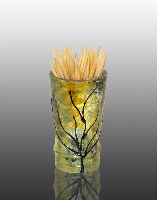 amber green white glass painted toothpick holder with tree