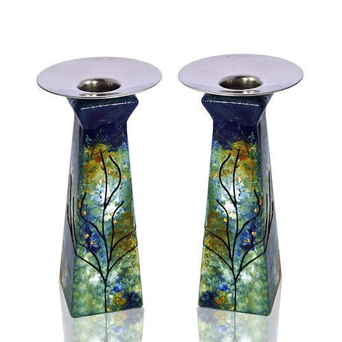 Blue, Amber Candle Holders Set