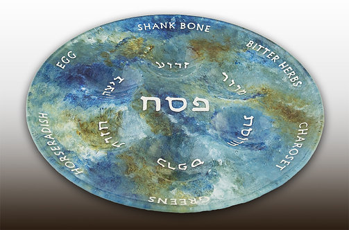 Blue Green and White Seder Passover Plate