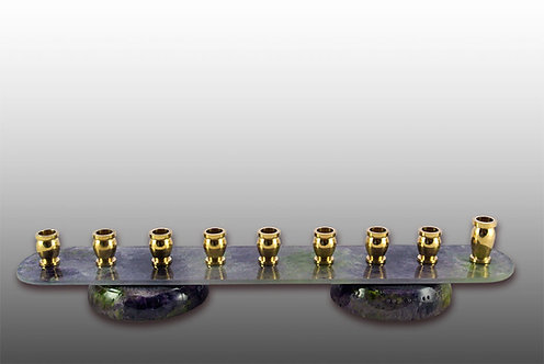 Eco Friendly Glass Menorah - Painted in Shades of Lavender and Greens Colors