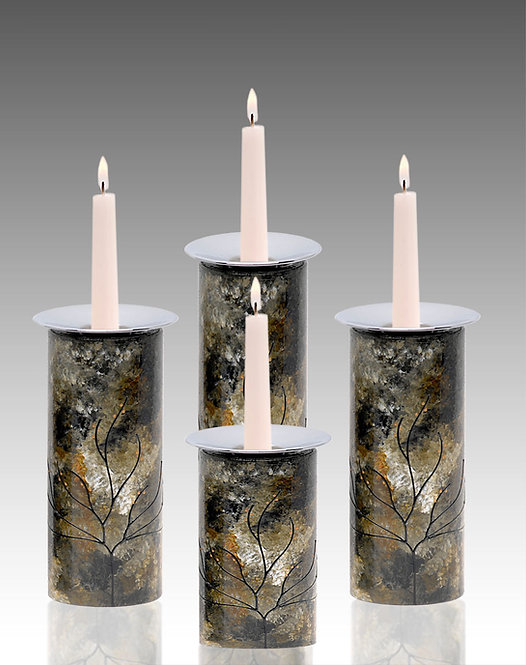 Candle Holders - Amber Black Green Tones