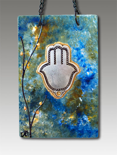 Hamsa blessing glass painted ocean breeze lapis