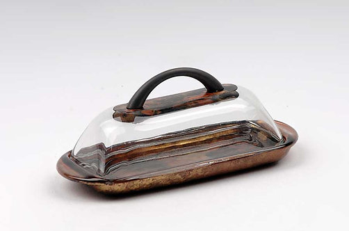 Copper Gold, Black Glass Butter Dish With Lid