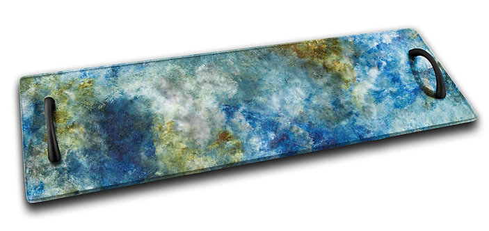 Long Serving Tray - Sea Tones of Blue Amber White