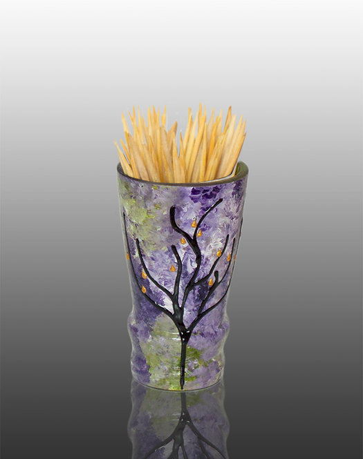 green purple white glass painted toothpick holder with tree