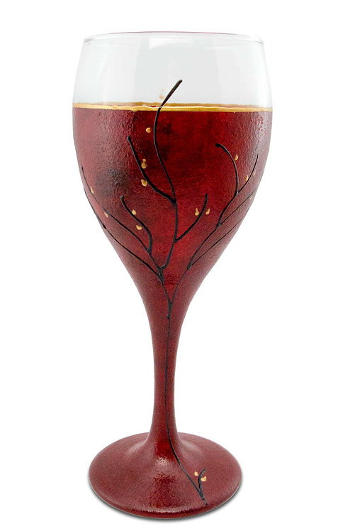 Red Kiddush Cup or Wine Glass 8.5 Ounce