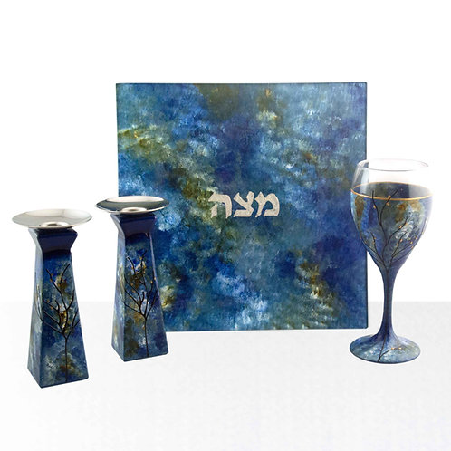 Matzah Plate with Candle and Kiddush Cup Blue