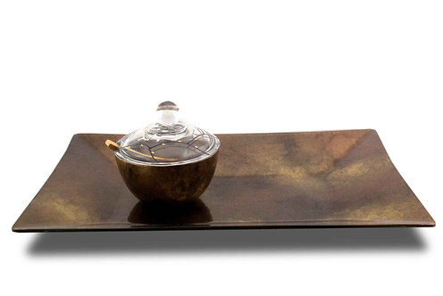Boat Platter Copper Gold and Black