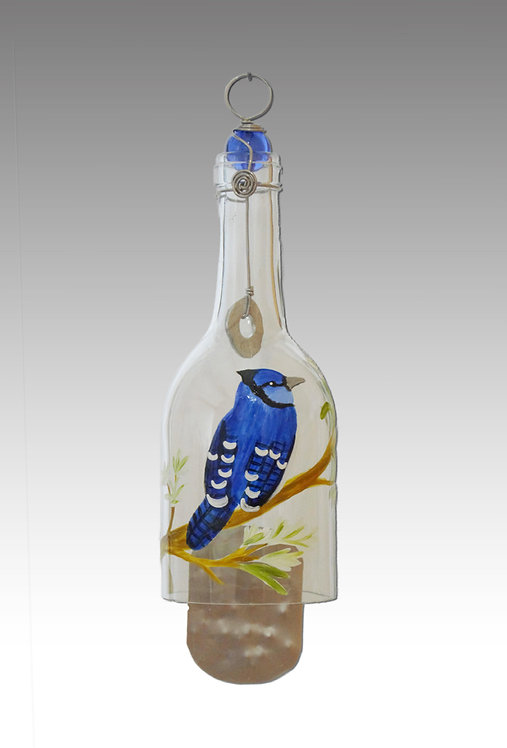 blue jay wind chime glass painted