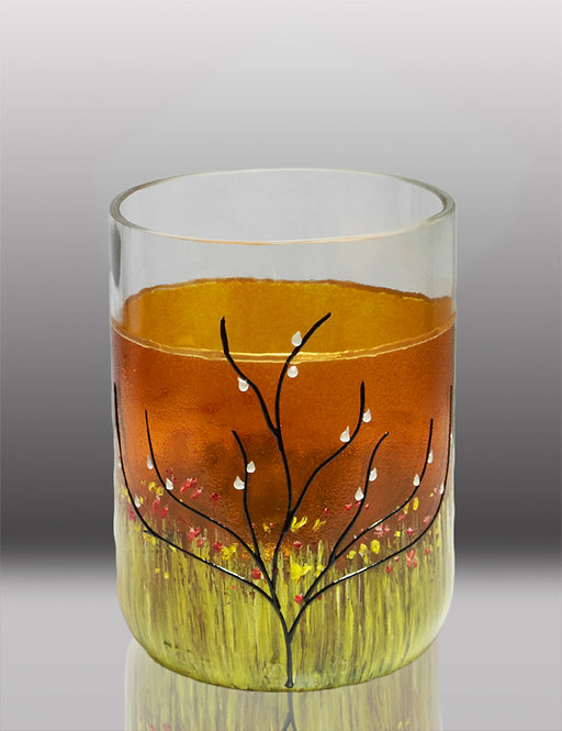 glass painted honey drinking glass with tree